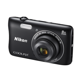 Цифров фотоапарат Nikon Standout Style Coolpix S3700, 20MP с калъф и карта памет 8GB, черен и сребрист