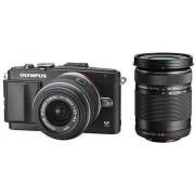 Професионален фотоапарат Olympus PEN E-PL6, 16MP, тъч с обективи EZ-M1442 II R + EZ-M4015 черен/сребрист/бял